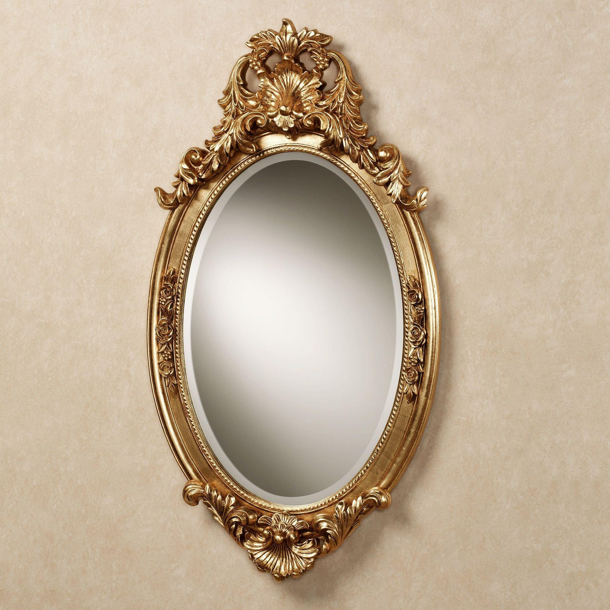 Hallandale Acanthus Leaf Oval Wall Mirror In Gold Wall Mirrors (Image 8 of 20)