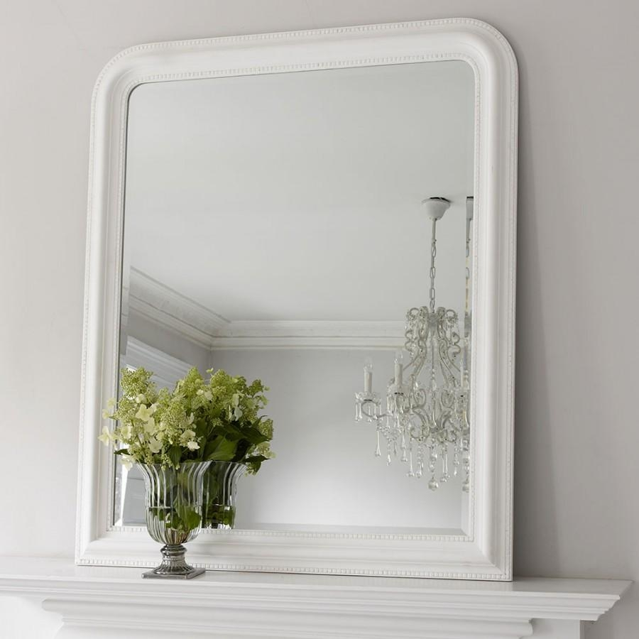 Hampshire Mirror – White Large | Brissi For White Overmantle Mirror (Image 10 of 20)
