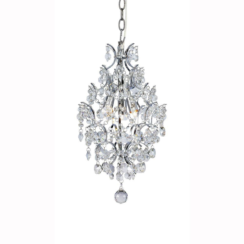 Hampton Bay 3 Light Chrome Crystal Branches Pendant 1000051534 Regarding 3 Light Crystal Chandeliers (Image 10 of 25)