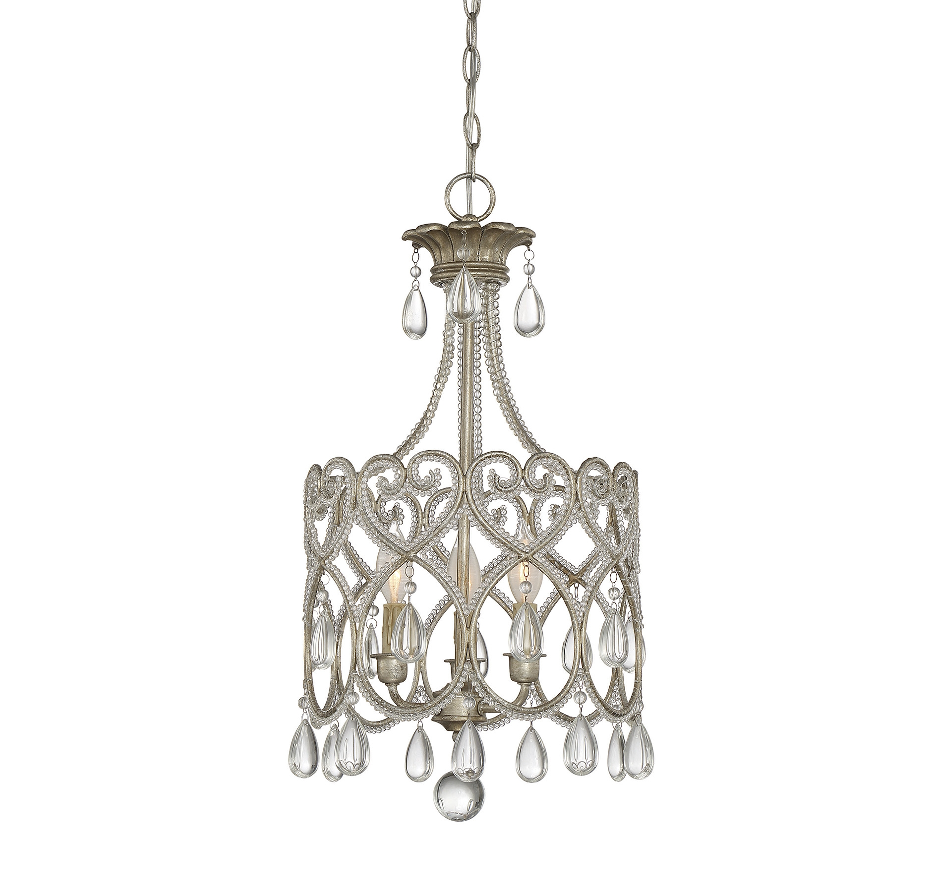 Hampton Bay Kristin 3 Light Antique White Hanging Mini Chandelier For 3 Light Crystal Chandeliers (Image 12 of 25)