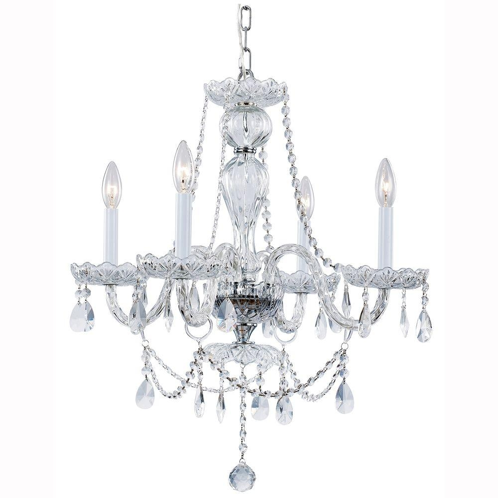 Hampton Bay Lake Point 4 Light Chrome And Clear Crystal Chandelier Within Chrome And Crystal Chandeliers (View 7 of 25)