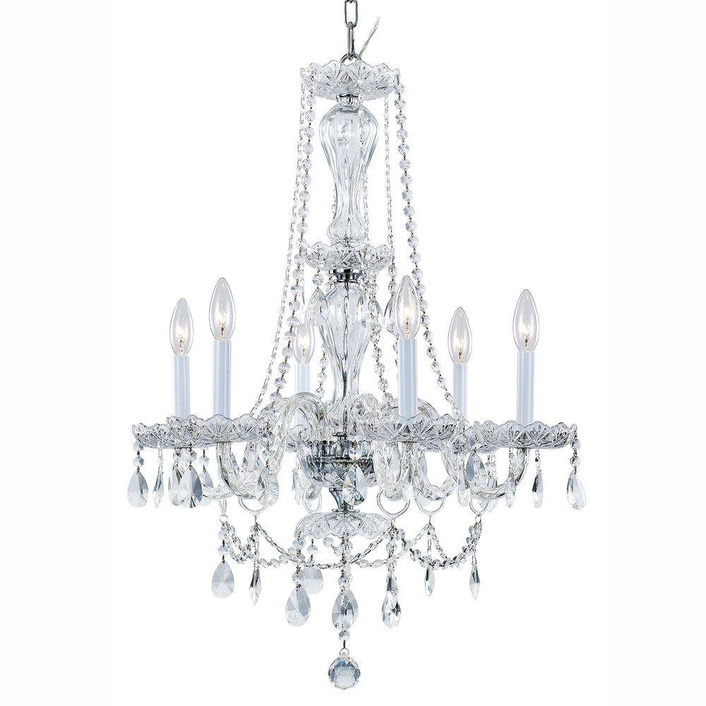 Hampton Bay Lake Point 6 Light Chrome And Clear Crystal Chandelier Within White And Crystal Chandeliers (Image 19 of 25)