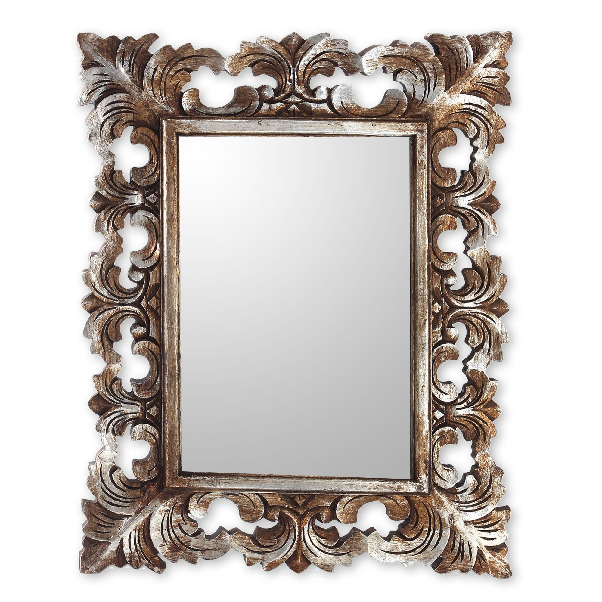 Hand Carved Wood Wall Mirror With Distressed Silver Finish – Padma With Regard To Distressed Silver Mirror (View 6 of 20)