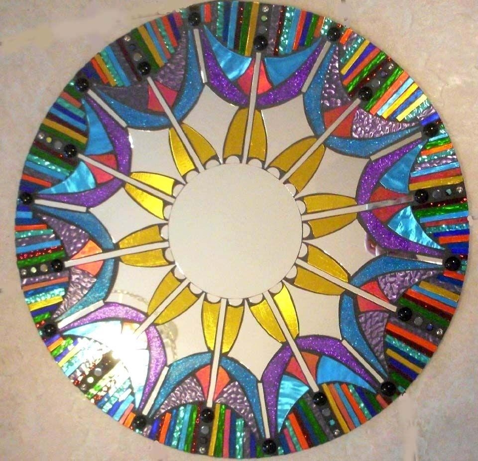 Hand Made Mosaic Mirror Colorful Stained Glass Roundsol Sister For Round Mosaic Mirrors (Image 8 of 20)