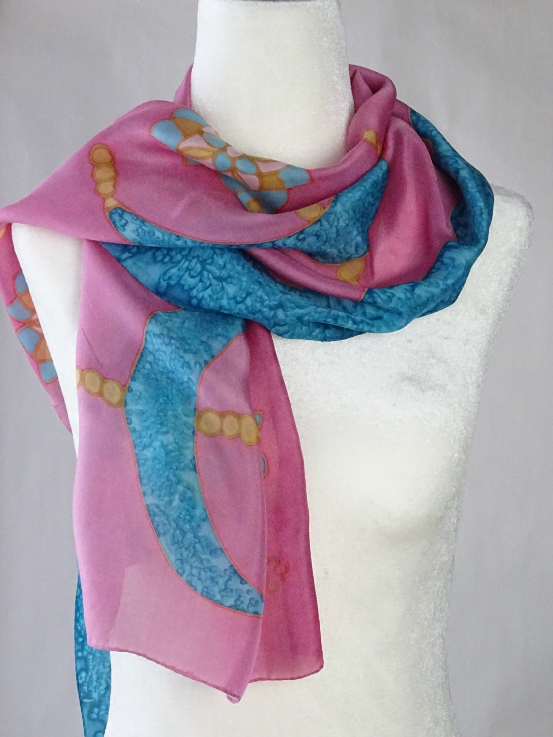 Hand Painted Silk Scarf In Gold Dusty Pink And Turquoise For Turquoise And Pink Chandeliers (View 19 of 25)