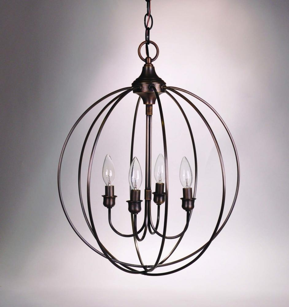 Hanging Circle Chandelier Dark Antique Copper 4 Candelabra Sockets Inside Hanging Candelabra Chandeliers (Image 9 of 25)