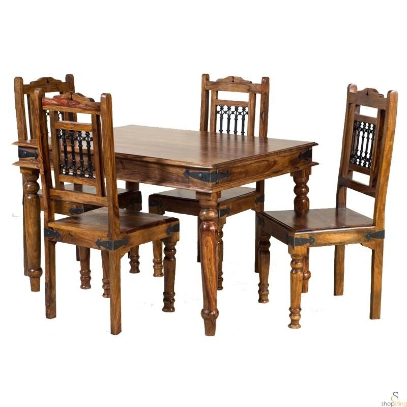 Hanumn Solid Wood 4 Seater Dining Table Set – Wooden – 4 Seater Within 4 Seat Dining Tables (Image 15 of 20)