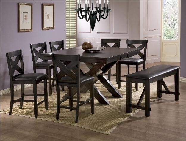 Havana 6 Piece Counter Height Dining Set In Espresso Finish Within Havana Dining Tables (Image 7 of 20)