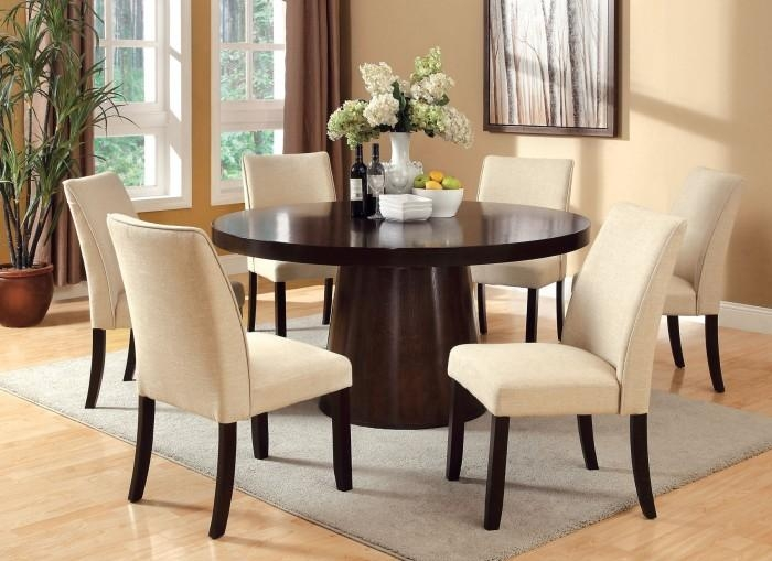 Havana Espresso Finish 7Pc Round Dining Set (Chairs Available In With Havana Dining Tables (Image 11 of 20)