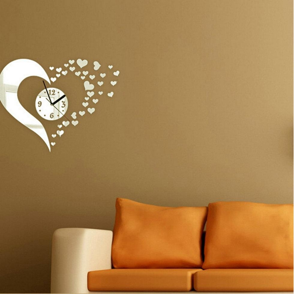 Heart Shaped Wall Clock Mirror Stickers Wall Decal Modern Home With Regard To Heart Shaped Mirror For Wall (Image 9 of 20)