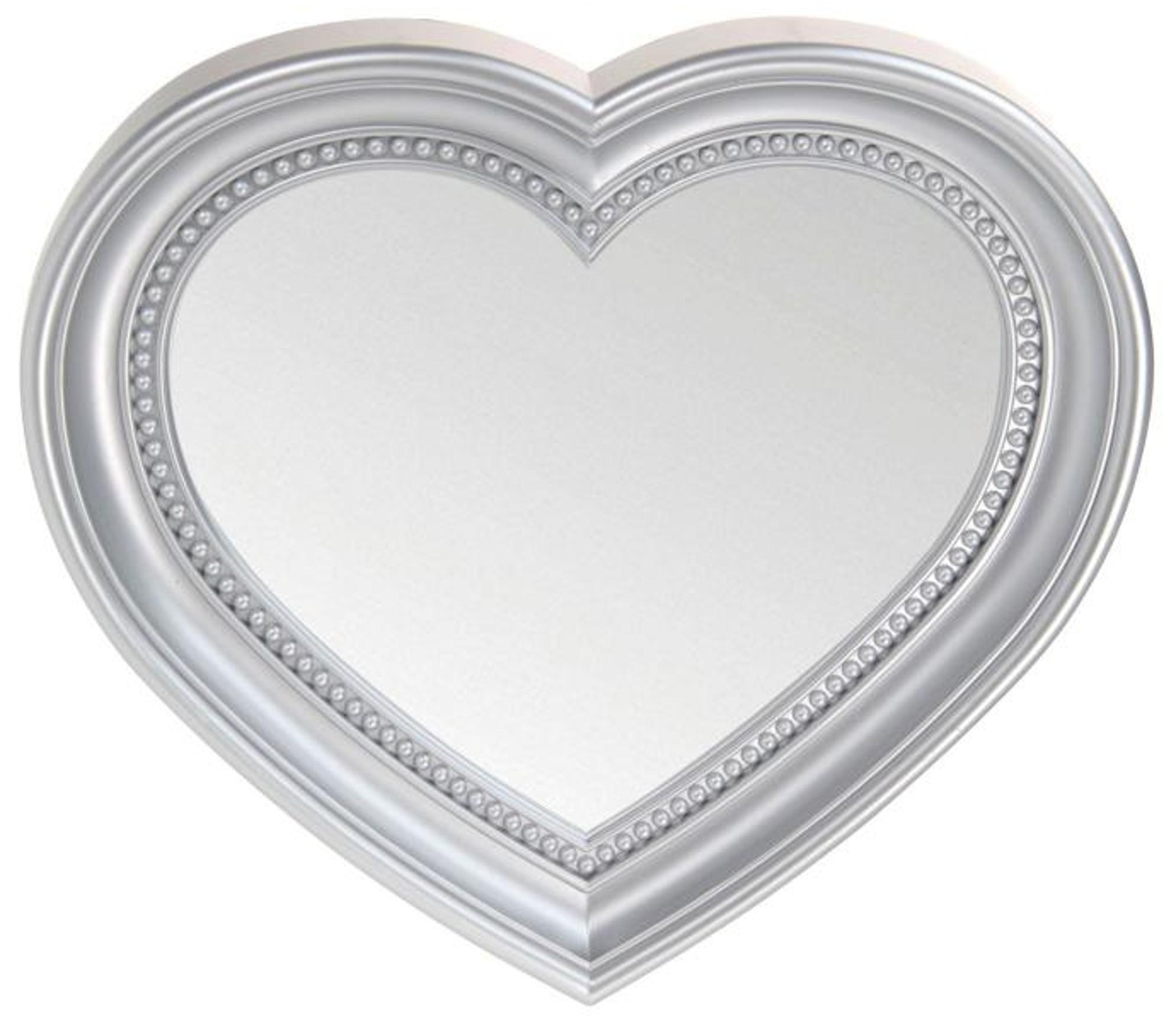Heart Shaped Wall Hanging Mirror, Silver 45Cm | Blendboutique Intended For Heart Shaped Mirror For Wall (Image 5 of 20)