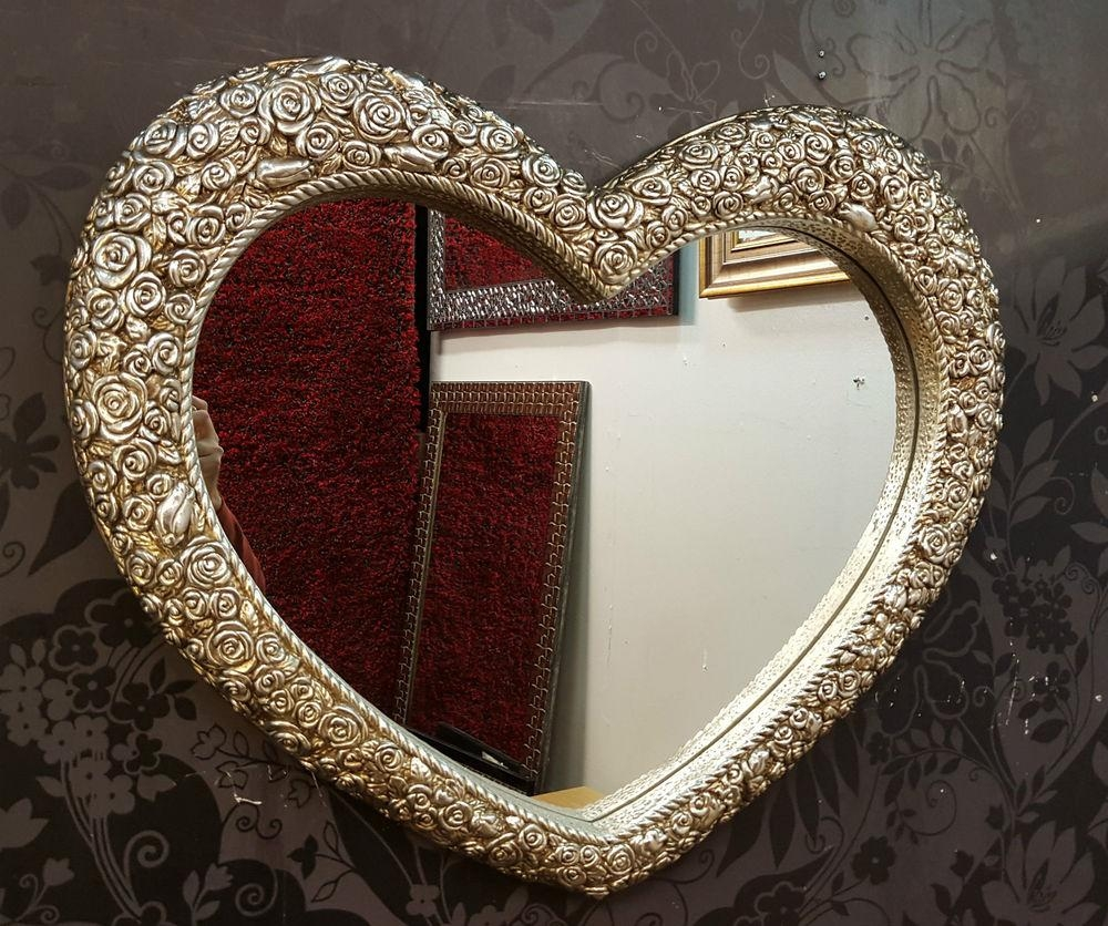 Heart Wall Mirror Ornate Champagne Silver Frame French Engrved Pertaining To Heart Shaped Mirror For Wall (View 16 of 20)
