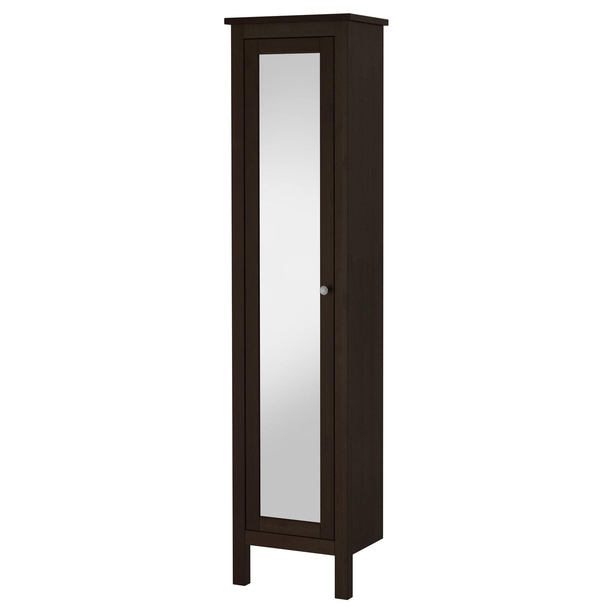 Hemnes High Cabinet With Mirror Door – Black Brown Stain – Ikea For Black Mirrored Cabinet (Image 13 of 20)