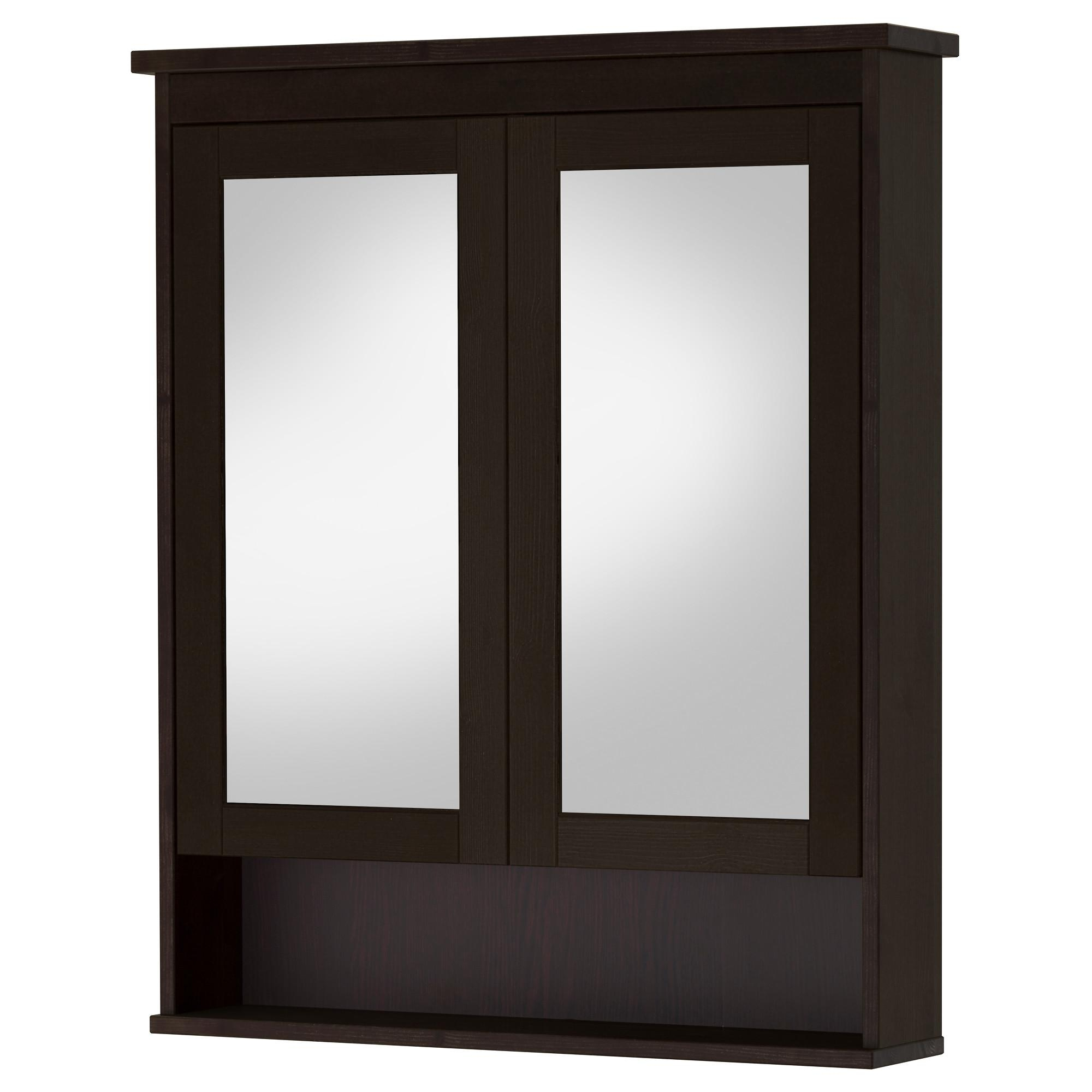 Hemnes Mirror Cabinet With 2 Doors – Black Brown Stain, 32 5/8X6 1 Within Black Mirrored Cabinet (Image 15 of 20)