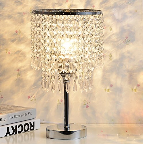 Hile Lighting Ku300085 Chrome Round Crystal Chandelier Bedroom With Regard To Chandelier Night Stand Lamps (Image 18 of 25)
