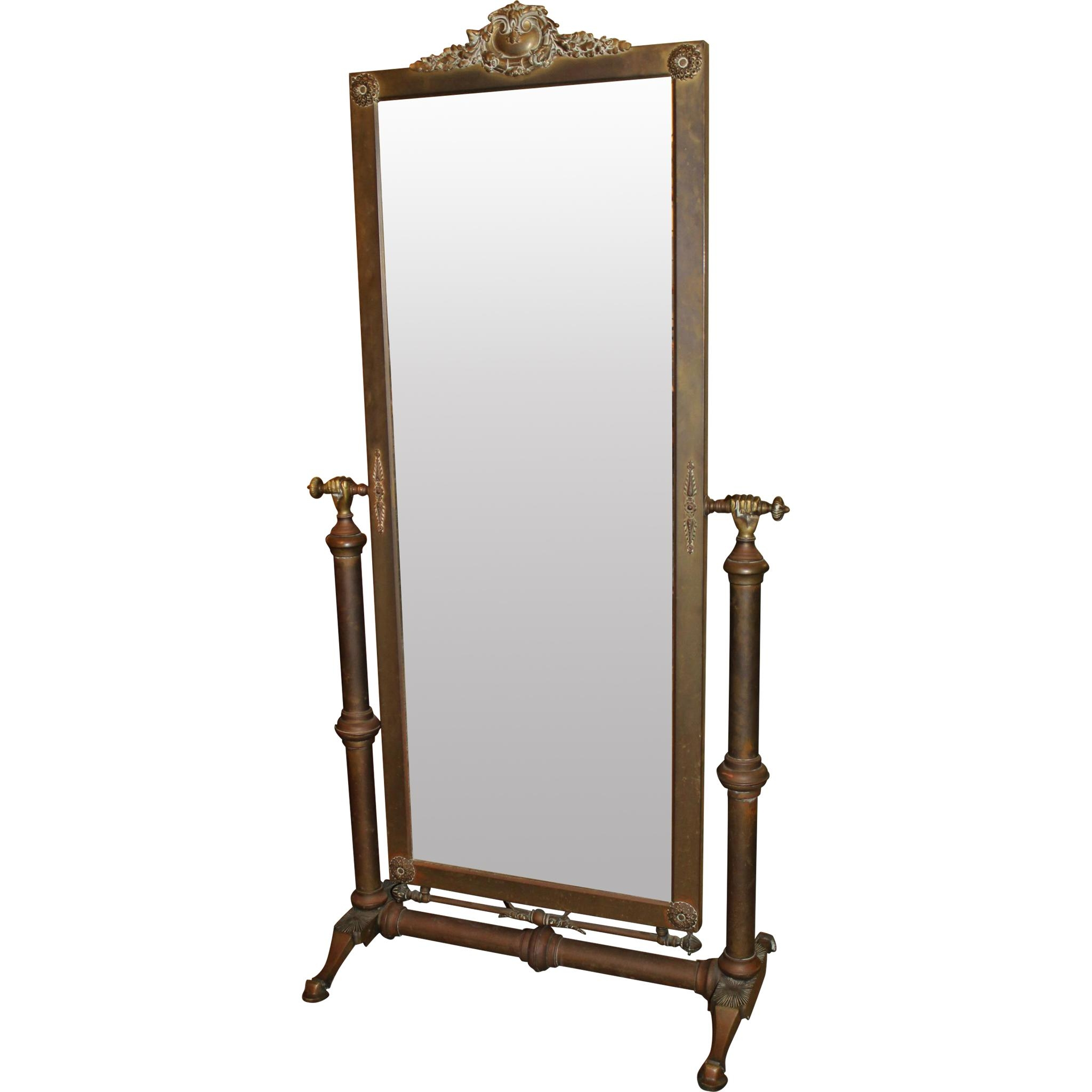 Hollywood Regency Brass Bound Cheval Mirror From Nhantiquecoop On Pertaining To Cheval Mirror (Image 13 of 20)