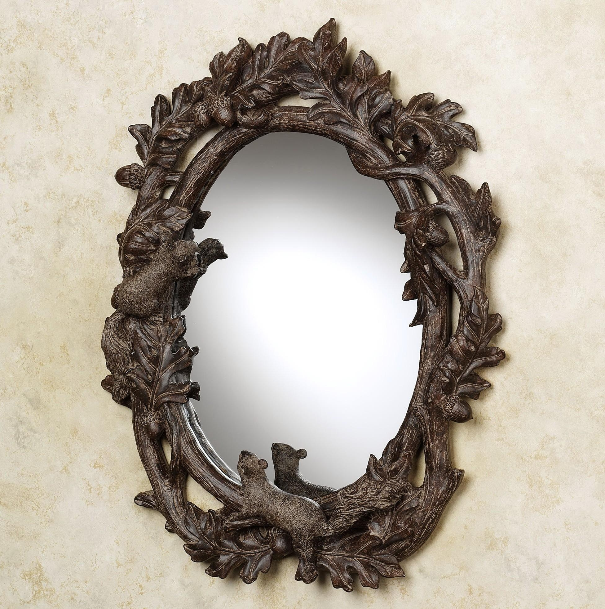 Home Decor: Antique Carved Dark Tone Wrought Iron Frame Wall Throughout Rod Iron Mirrors (Image 11 of 20)