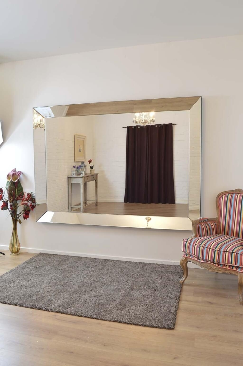 Home Decoration: Minimalist Frameless Round Mirror And Hanging With Large Bevelled Mirror (View 20 of 20)