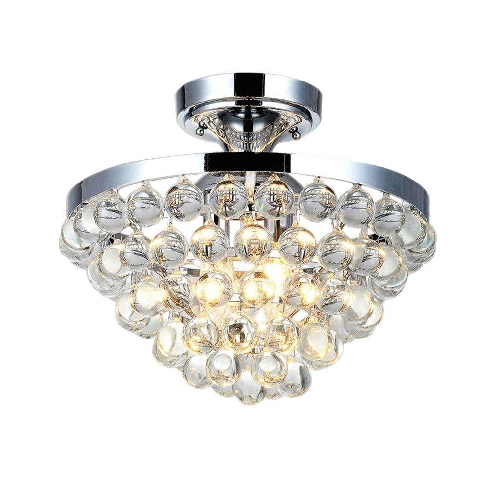 Home Decorators Collection 4 Light Chrome And Crystal Flushmount With 4 Light Chrome Crystal Chandeliers (View 20 of 25)