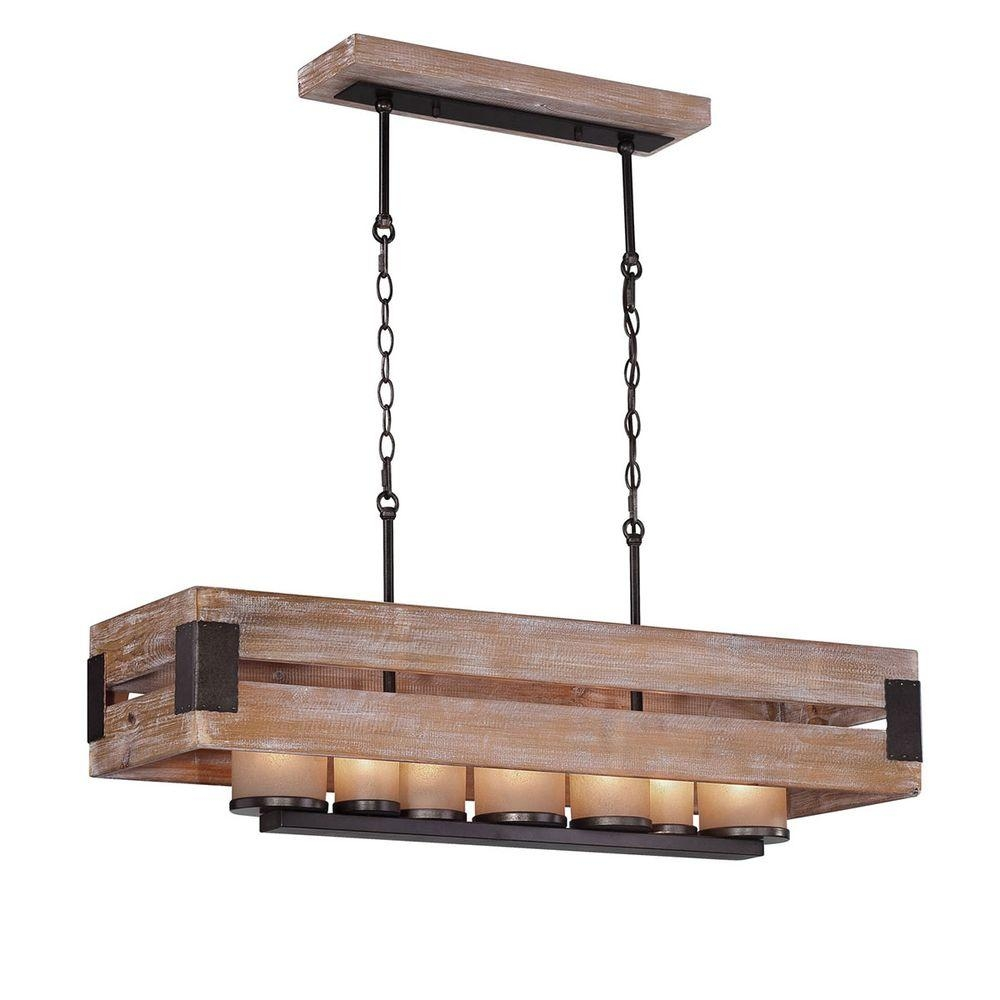Home Decorators Collection Cesto 7 Light Wood Rectangular With 7 Light Chandeliers (Image 9 of 25)