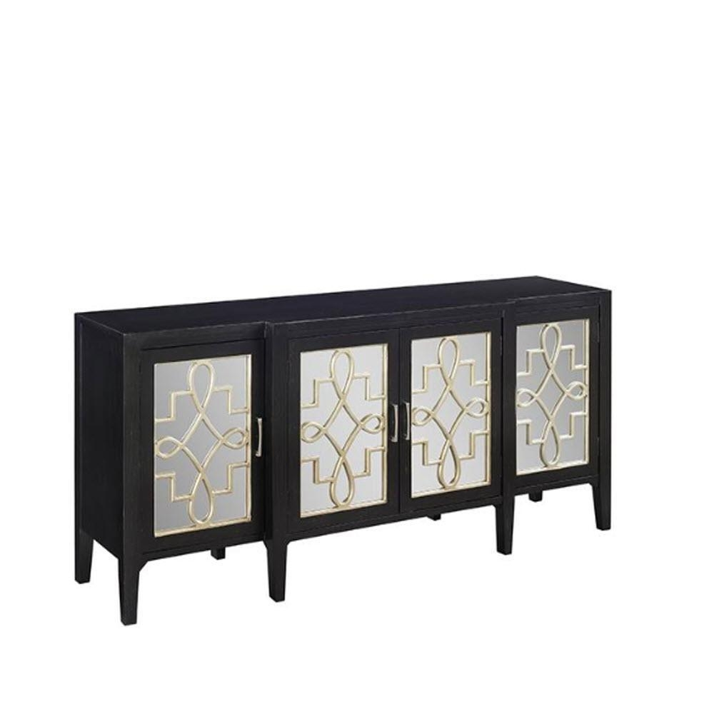 Home Decorators Collection Clover Black Mirrored Cabinet In Black Mirrored Cabinet (Image 16 of 20)