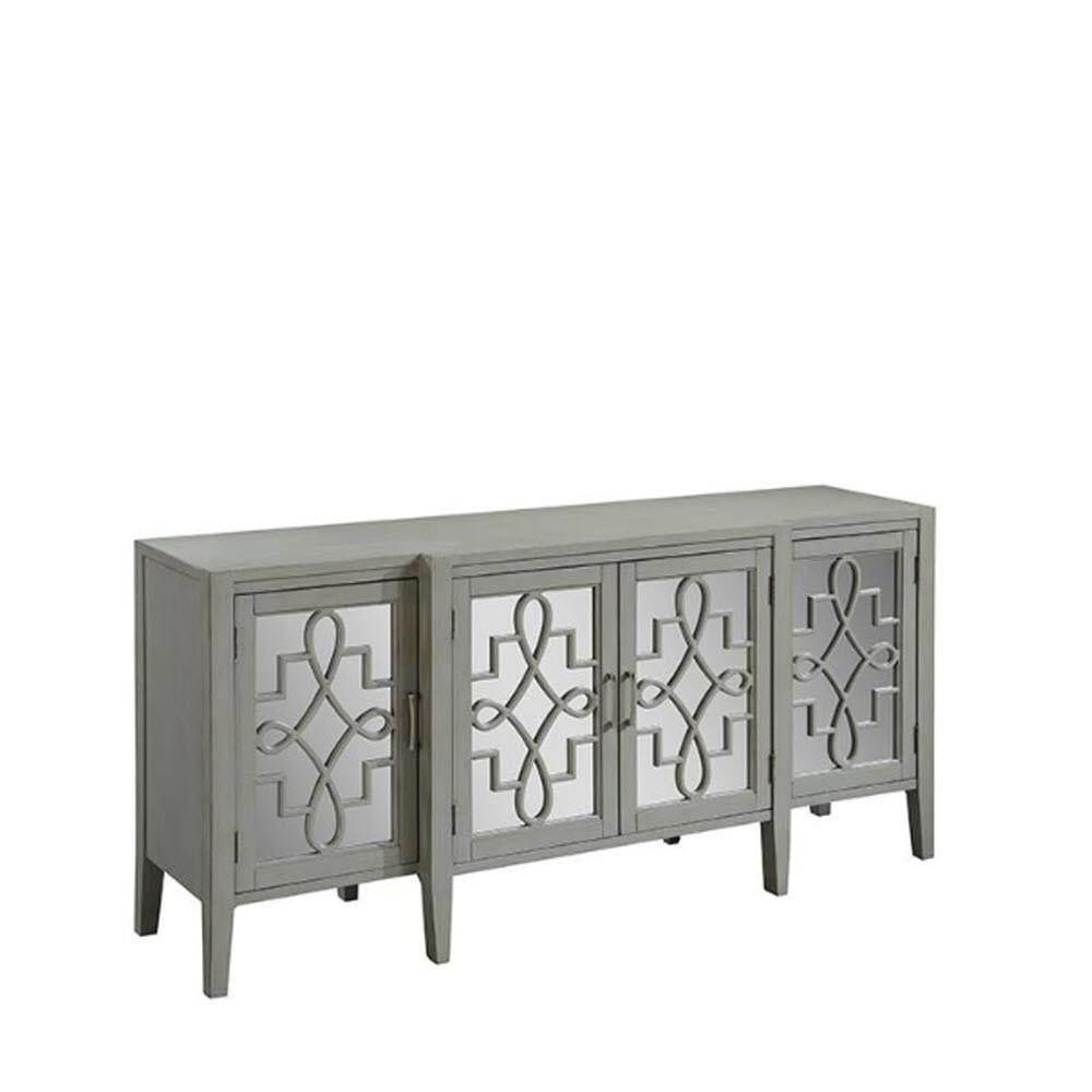 Home Decorators Collection Clover Grey Mirrored Cabinet 9671800270 Throughout Black Mirrored Cabinet (Image 17 of 20)