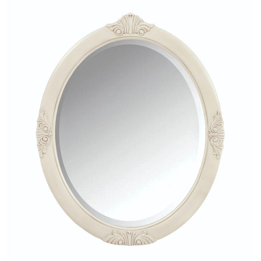 Featured Image of Antique White Oval Mirror