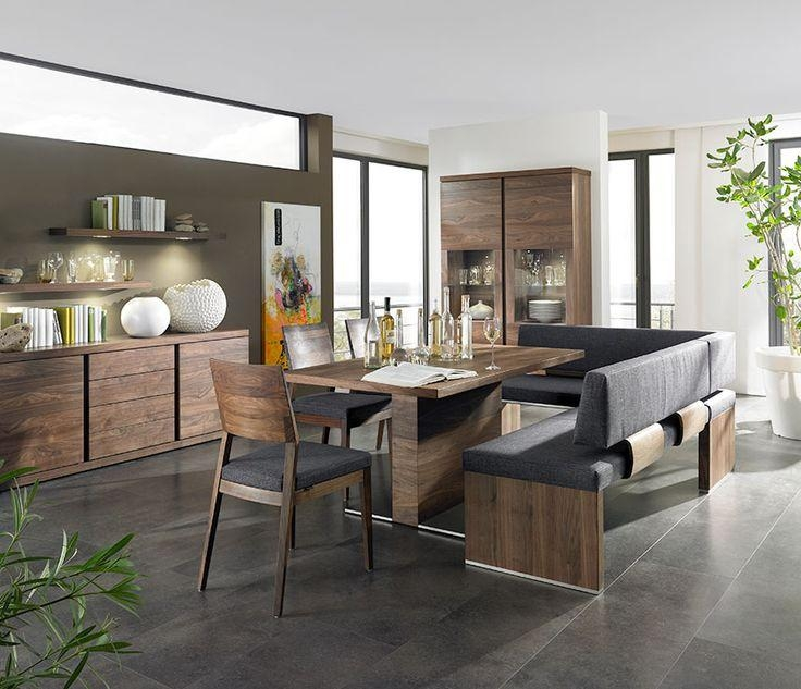 Home Shaped Brown Modern Leather Dining Bench And Rectangle Wood Throughout Bench With Back For Dining Tables (Image 16 of 20)