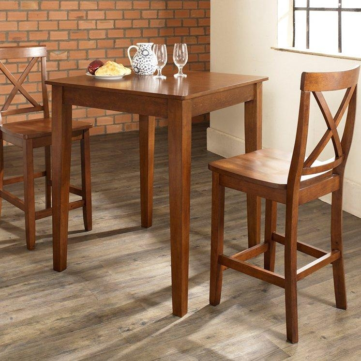 Home Styles Manhattan Black Pub Table Set With Stainless Steel Pertaining To Dining Table Sets For  (Image 12 of 20)