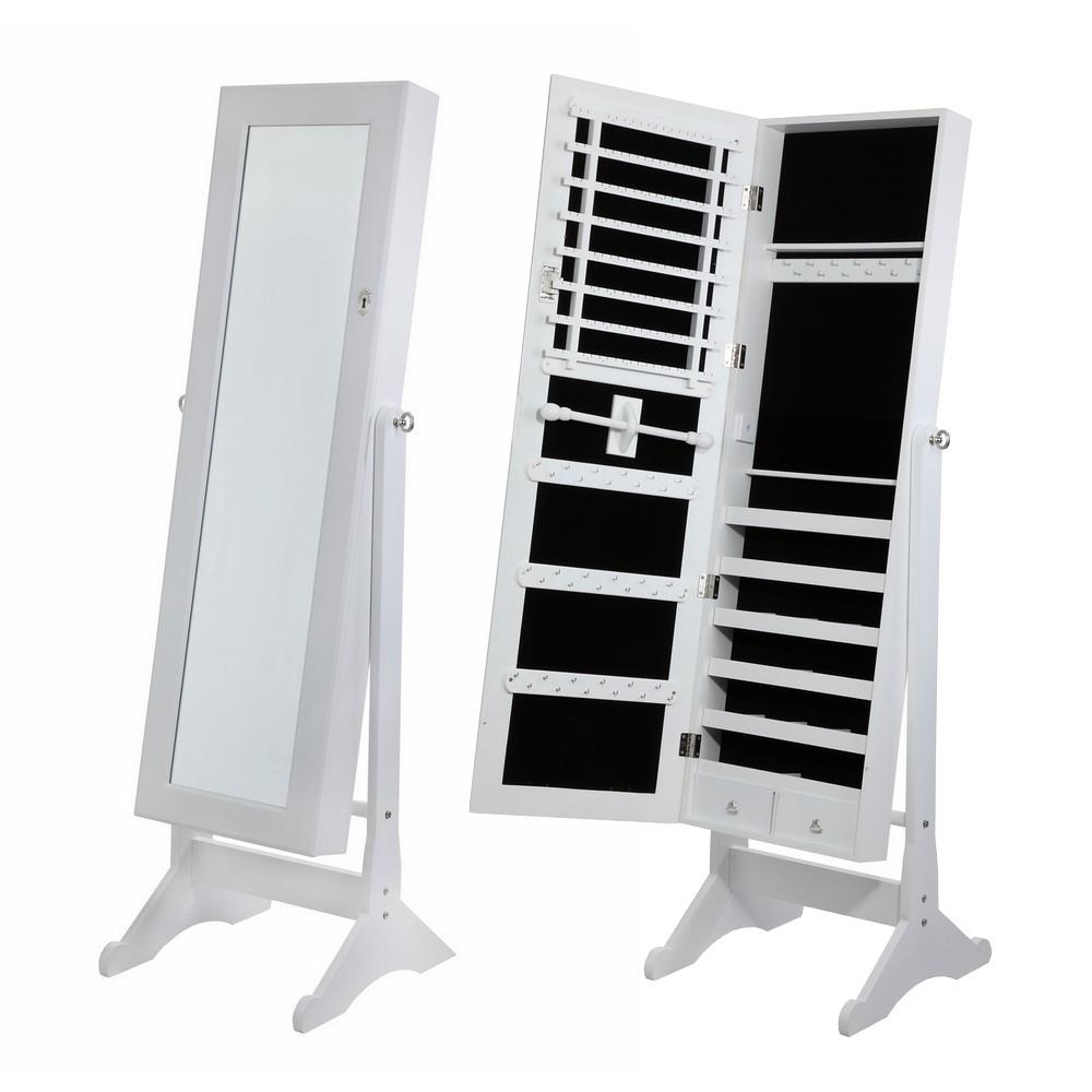 Homegear Free Standing Jewellery Cabinet / Full Length Bedroom Intended For Free Stand Mirror (Image 10 of 20)