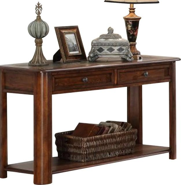 Homelegance Mcmillen Rectangular 2 Drawer Sofa Table With Slate In Slate Sofa Tables (Image 6 of 20)