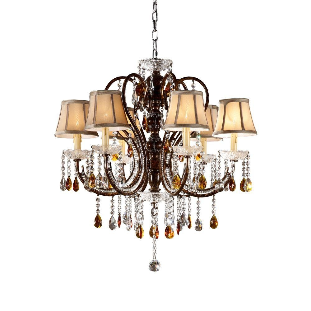 Homesullivan 6 Light Bronze Tea Shade Crystal Chandelier 40ok Within Chandelier With Shades And Crystals (Image 18 of 25)