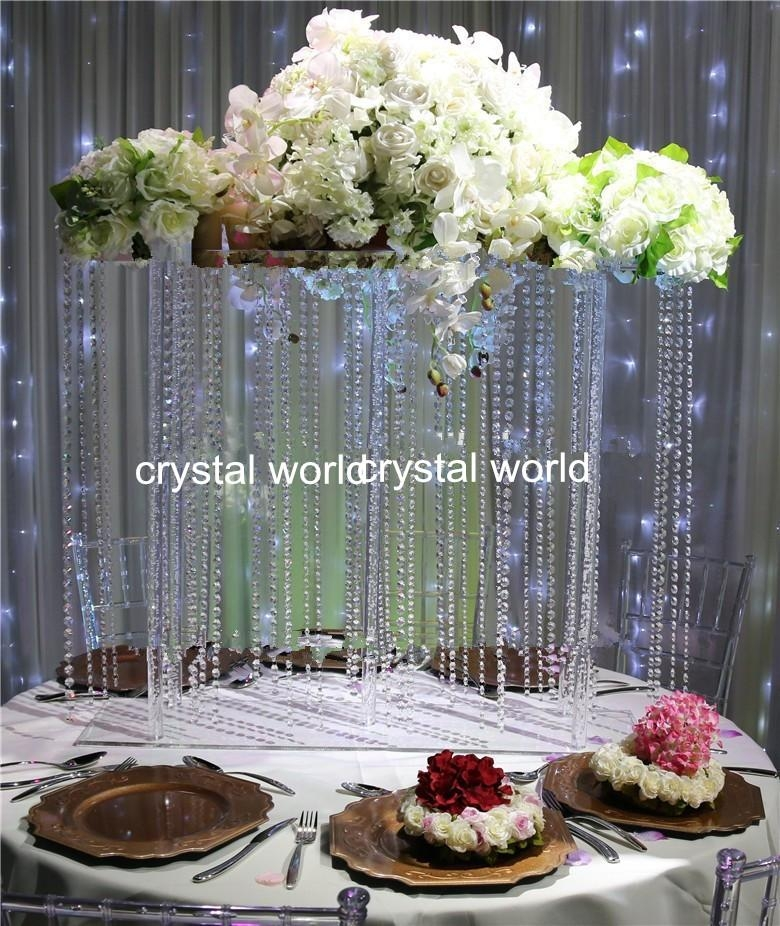 Hot Hanging Acrylice Crystal Wedding Flower Stand Centerpieces With Faux Crystal Chandelier Centerpieces (View 12 of 25)