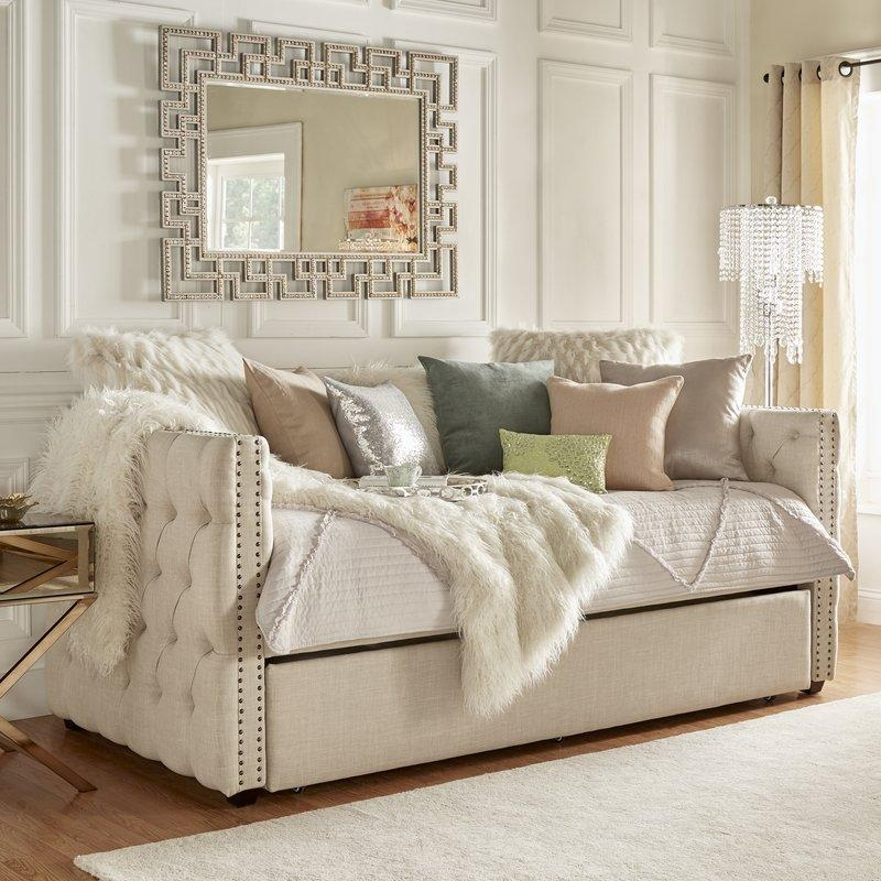 House Of Hampton Ghislain Daybed With Trundle & Reviews | Wayfair Intended For Sofas Daybed With Trundle (Image 16 of 20)
