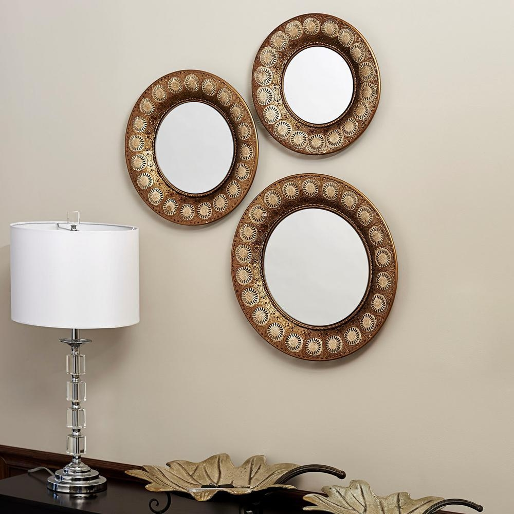 Household Essentials Round Gold Mirror (Set Of 3) 2380 1 – The Intended For Gold Round Mirrors (Image 8 of 20)
