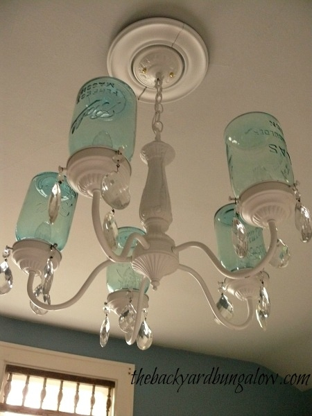 How Pretty Is This Spray Painted Light Fixture And Ball Jars Within Turquoise Ball Chandeliers (Image 21 of 25)