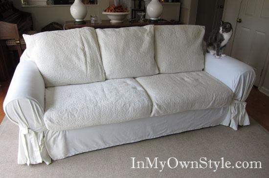 How To Cover A Chair Or Sofa With A Loose Fit Slipcover – In My Intended For 3 Piece Sofa Slipcovers (Image 7 of 20)