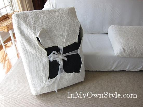 How To Cover A Chair Or Sofa With A Loose Fit Slipcover – In My With Regard To Sofa Cushion Covers (Image 8 of 20)