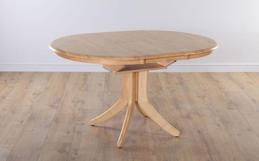 Hudson Round Natural Oak Extending Dining Room Table 90 120 Only Throughout Round Extendable Dining Tables (View 19 of 20)