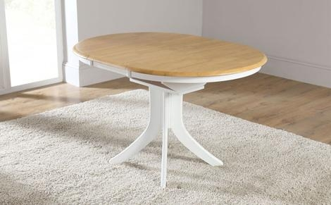 Hudson White Two Tone Round Extending Dining Room Table 90 120 Within Round White Extendable Dining Tables (View 11 of 20)
