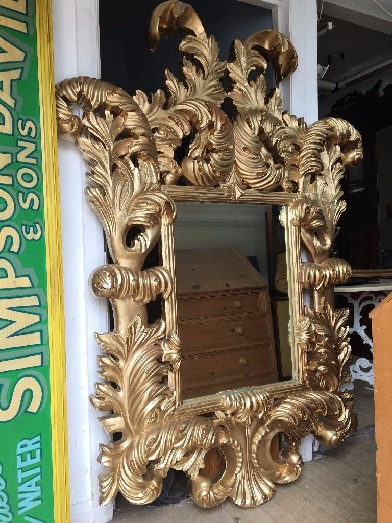 Huge Gold Mirror – French / Ornate / Rococo Mirror – Very Thick Intended For Rococo Mirror Gold (Image 14 of 20)