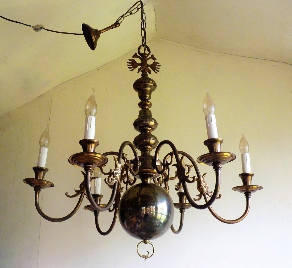 Huge Grand 6 Lamp Antique Vintage Brass Flemish Chandelier Ceiling Pertaining To Flemish Brass Chandeliers (Image 15 of 25)
