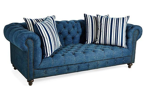 "I Need A Denim Chesterfield! Beau 90"" Sofa, Denim On Onekingslane In Denim Sofas And Loveseats (Image 17 of 20)"