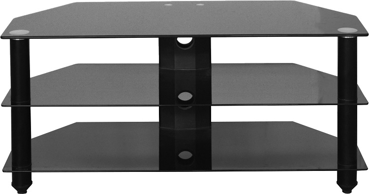 Impressive Best Black Glass TV Stands Regarding Corner Tv Stand Black Glass Metal Frame 3 Shelves Television Stand (Image 26 of 50)