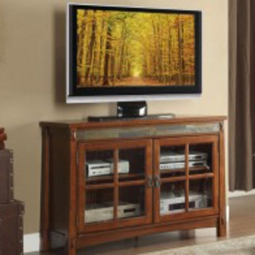 Impressive Best Brown TV Stands Intended For Homelegance Falls Tv Stand W Slate Dcor In Brown Cherry Beyond (View 10 of 45)