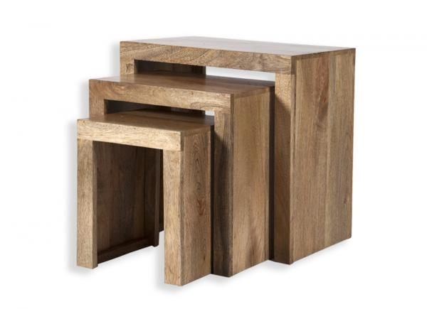 Impressive Best Nest Coffee Tables Regarding Cube Petite Chunky Solid Mango Wood Nest Of Tables Coffee Tables (Image 19 of 50)