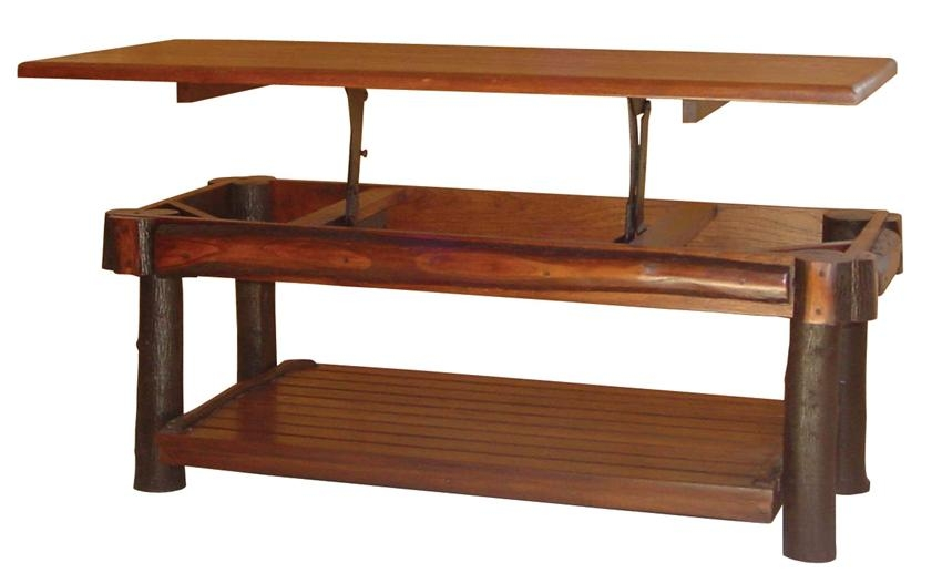 Impressive Best Rising Coffee Tables In Living Room The Most Rustic Hickory Lift Top Coffee Table From (Image 26 of 50)