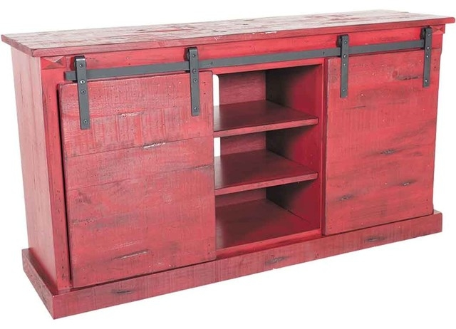 Impressive Best Rustic Red TV Stands Regarding Red Barn Door Tv Stand 65 Length Rustic Entertainment Centers (View 31 of 50)