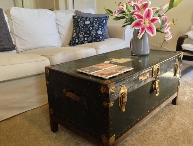 Impressive Best Steamer Trunk Stainless Steel Coffee Tables With Regard To Steamer Trunk Coffee Table (Image 26 of 50)