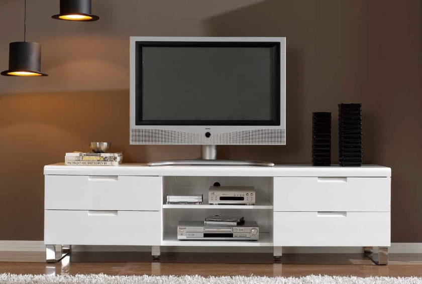 Impressive Brand New Double TV Stands With White High Gloss Polished Wooden Tv Stand With 4 Pull Out Storage (Image 23 of 50)